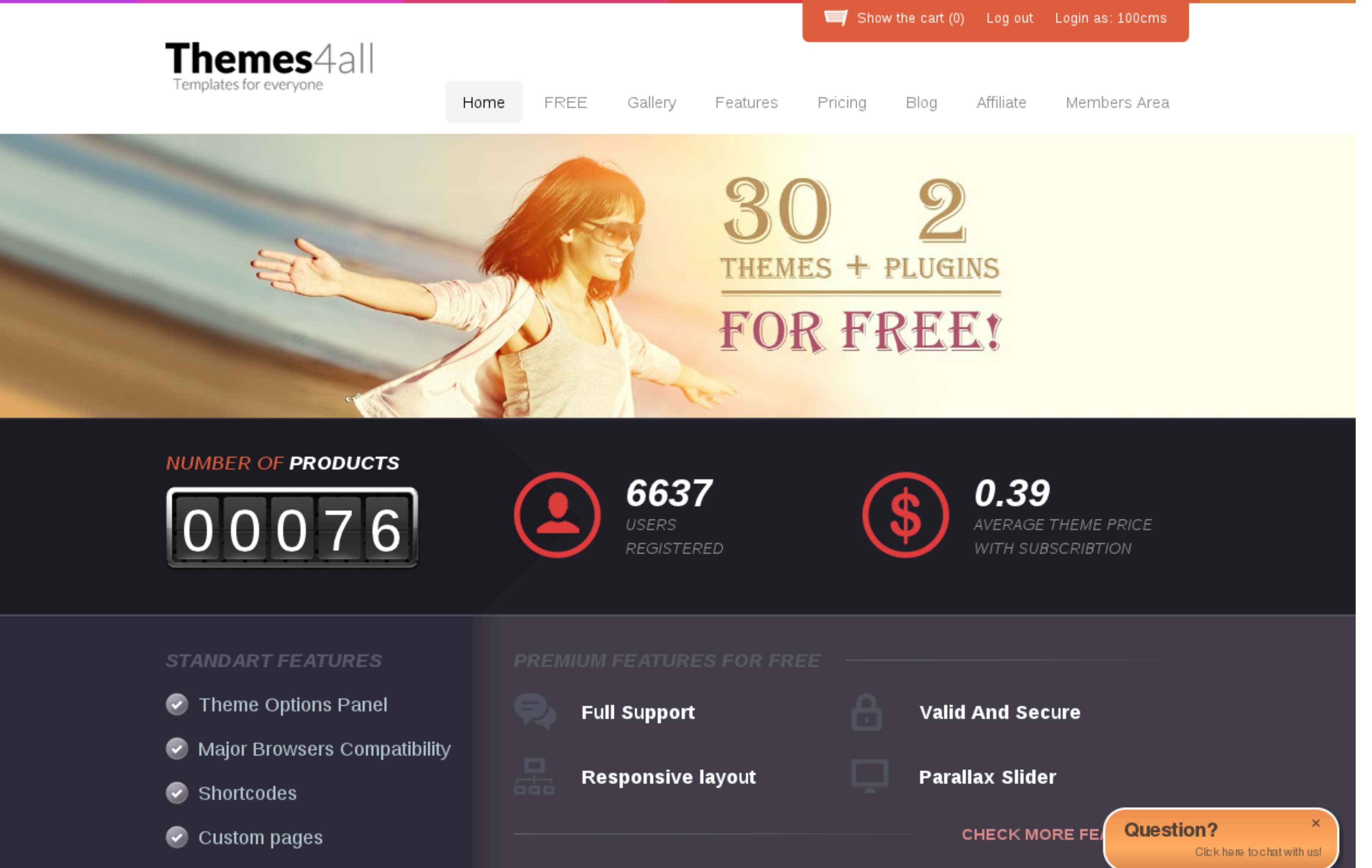 Themes4al WordPress Theme Club with free WordPress Themes and low prices for memberships