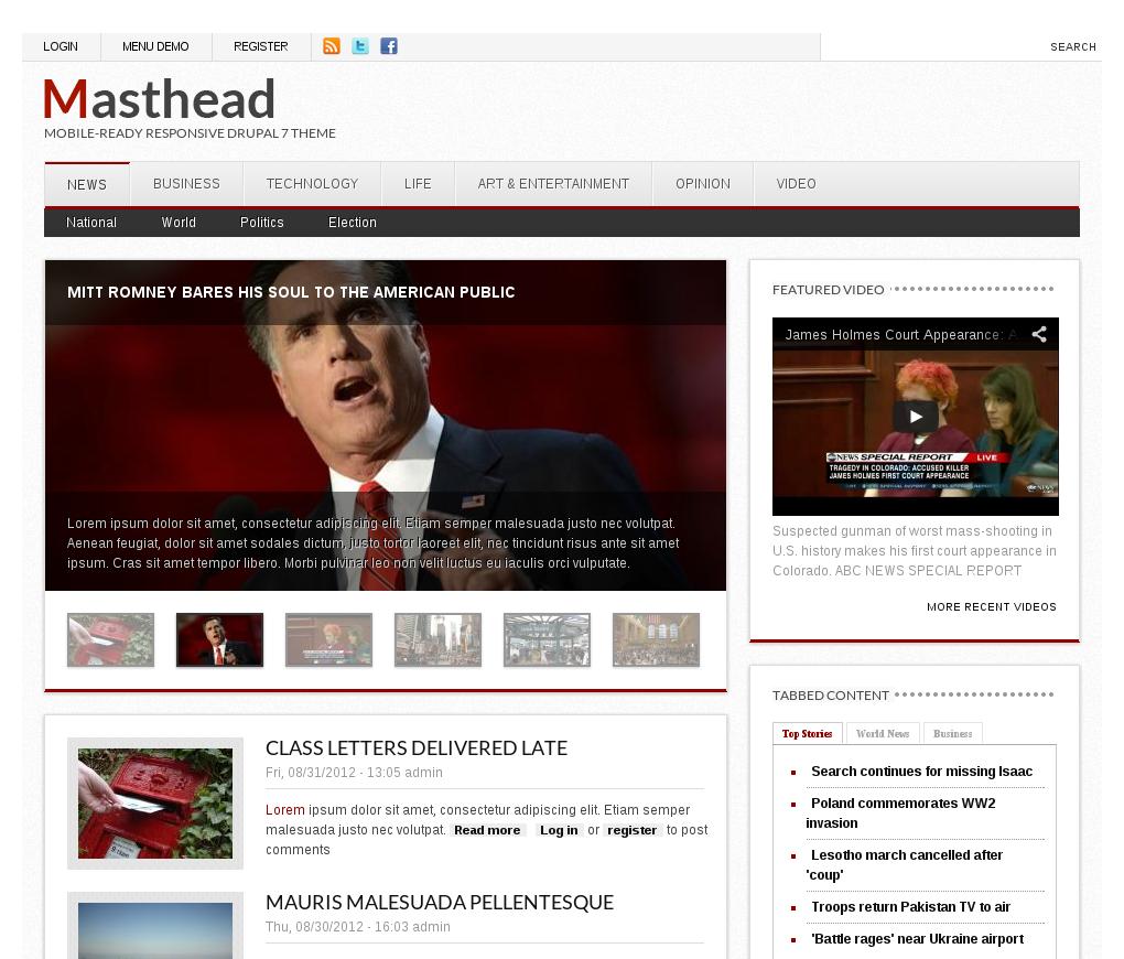 Masthead - Drupal News Theme