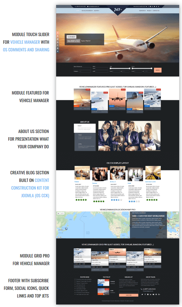 Jet Charter Flights Joomla Template