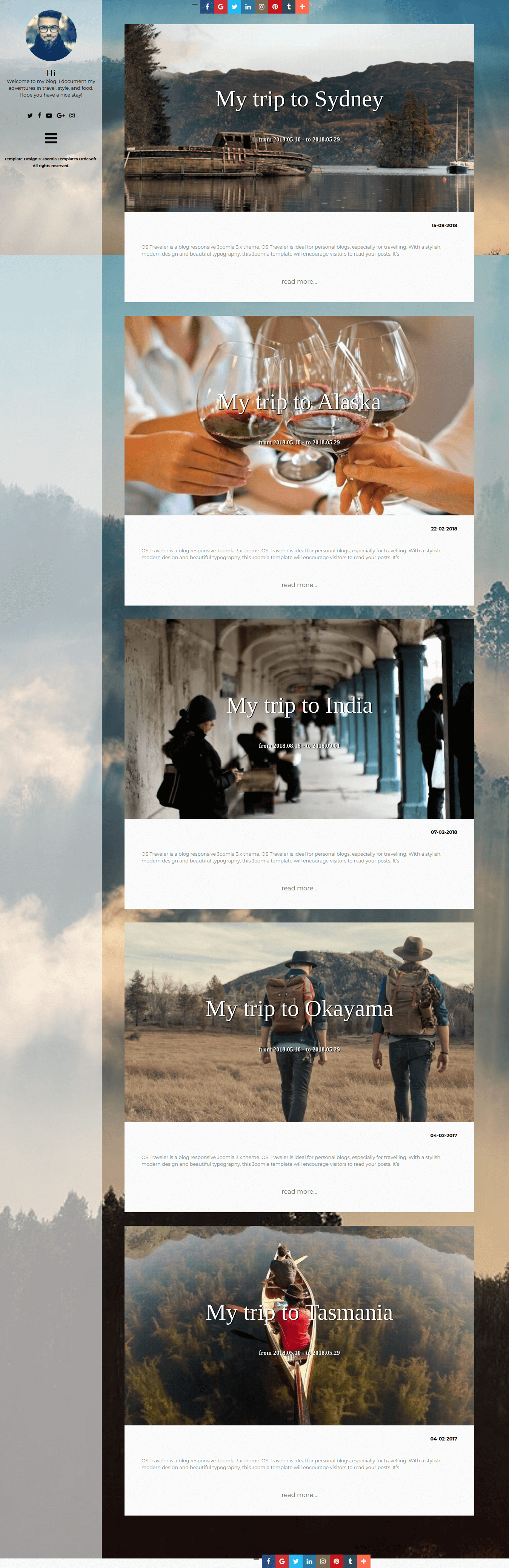 Traveler Modern Blog Joomla template