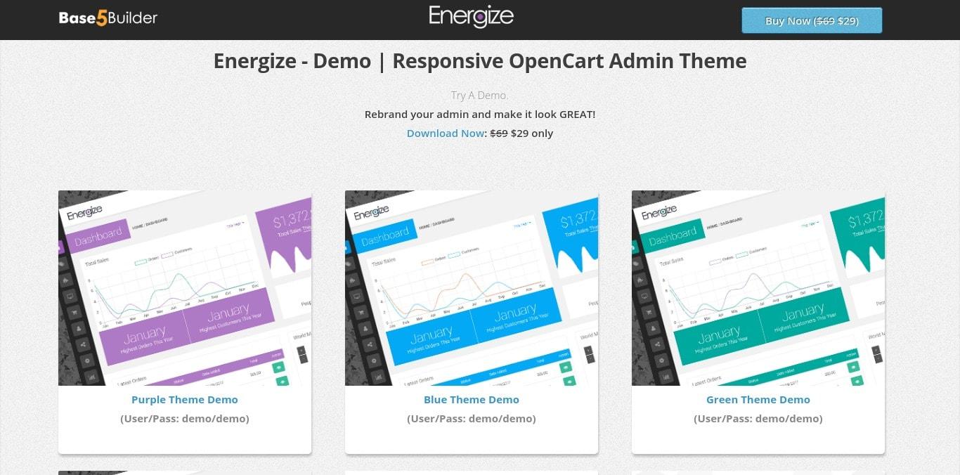 Energize - Premium Responsive OpenCart Admin Theme
