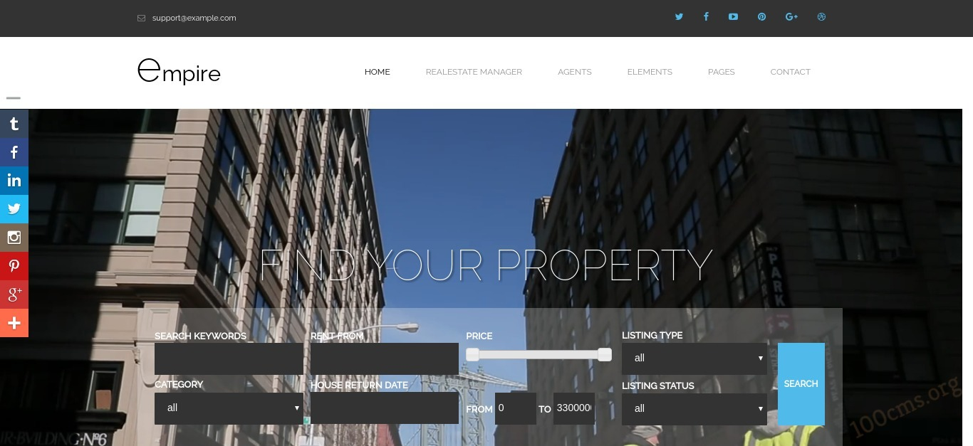Empire - Joomla Real Estate Template with video background