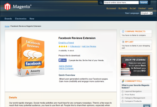 Amasty Magento Extension: Magento Facebook Like to Download