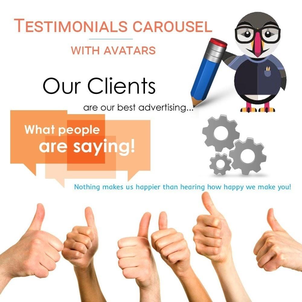 Webtet Prestashop Extension: Testimonials carousel with avatars, reviews Module for PrestaShop