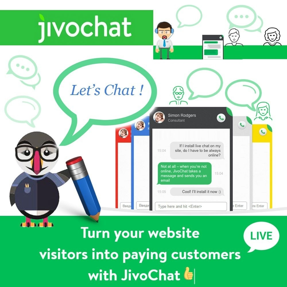 Webtet Prestashop Extension: Jivochat - Live chat with your customers Module