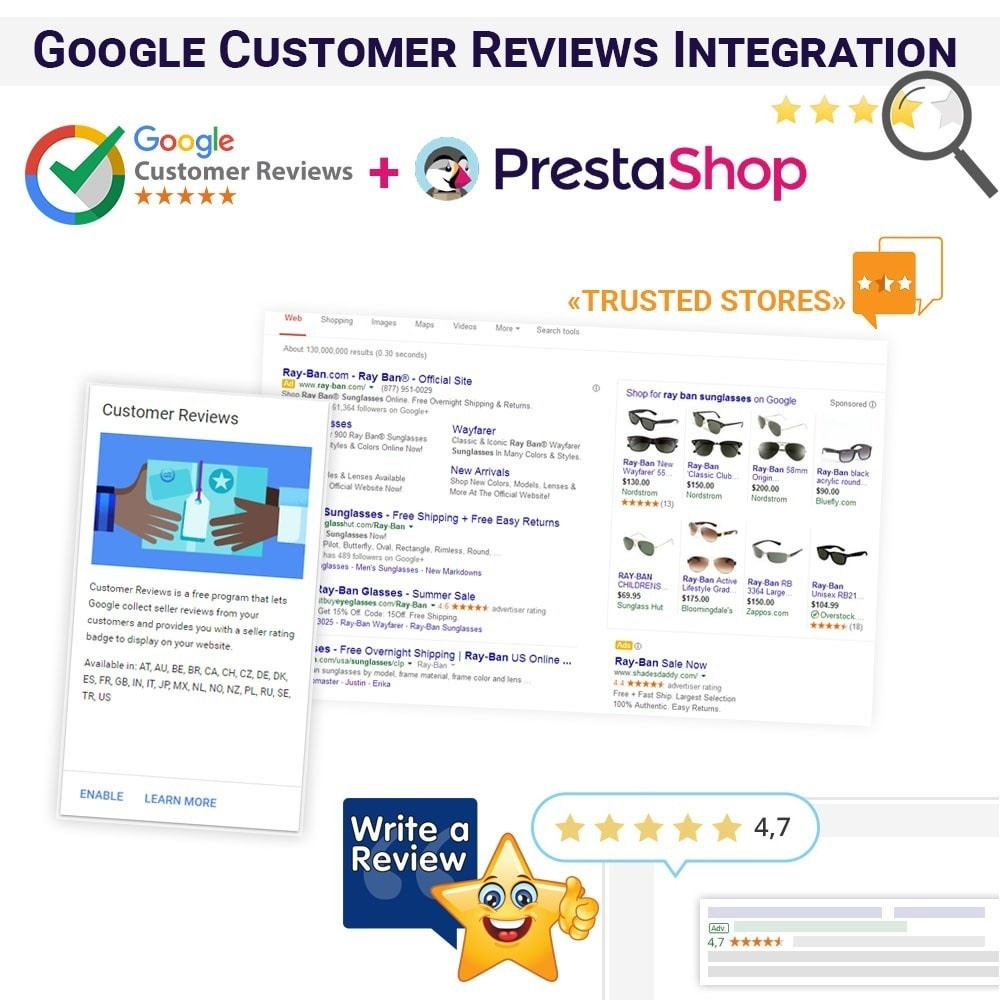 Webtet Prestashop Extension: Google Customer Reviews Integration PrestaShop Module