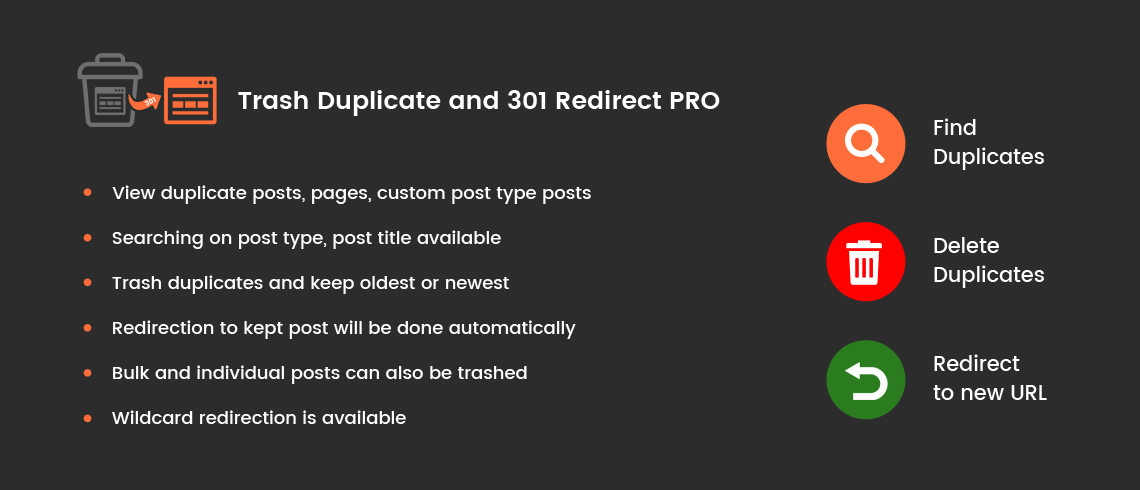 Solwin Infotech Wordpress Extension: Trash Duplicate and 301 Redirect PRO – WordPress Plugin