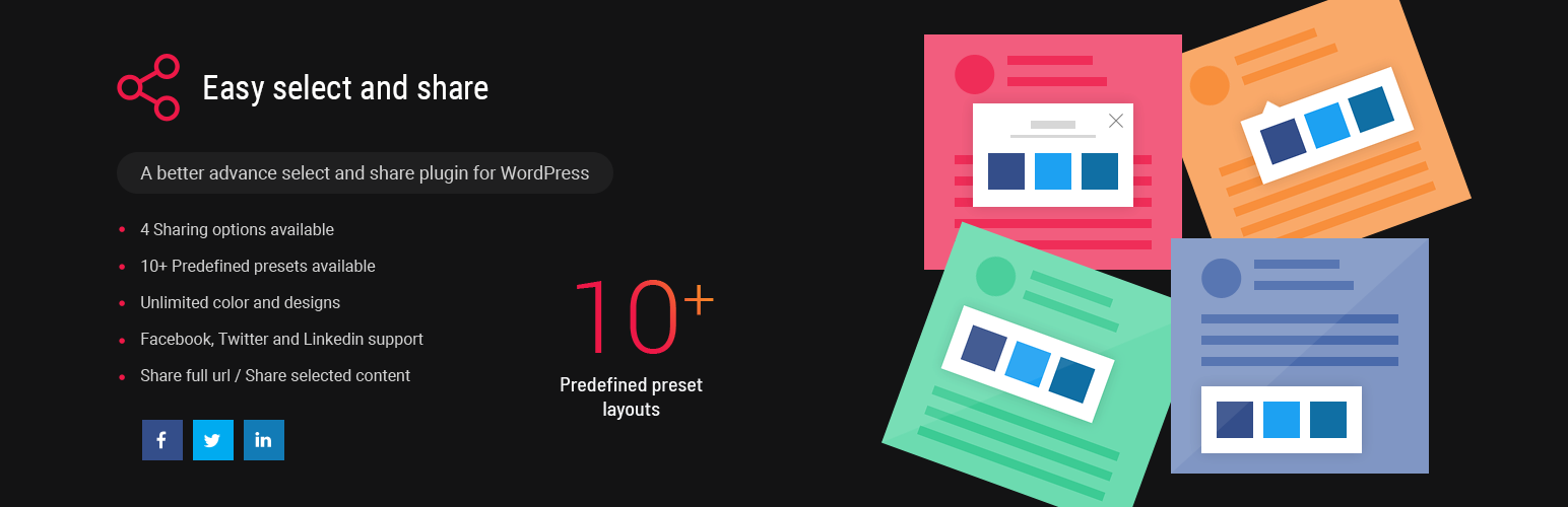 Wordpress Plugin: Easy Select and Share WordPress Plugin