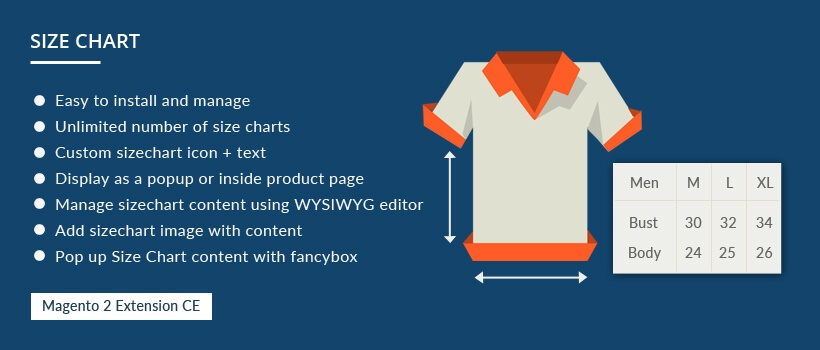 Solwin Infotech Magento Extension: Size Chart –Magento 2 Extension