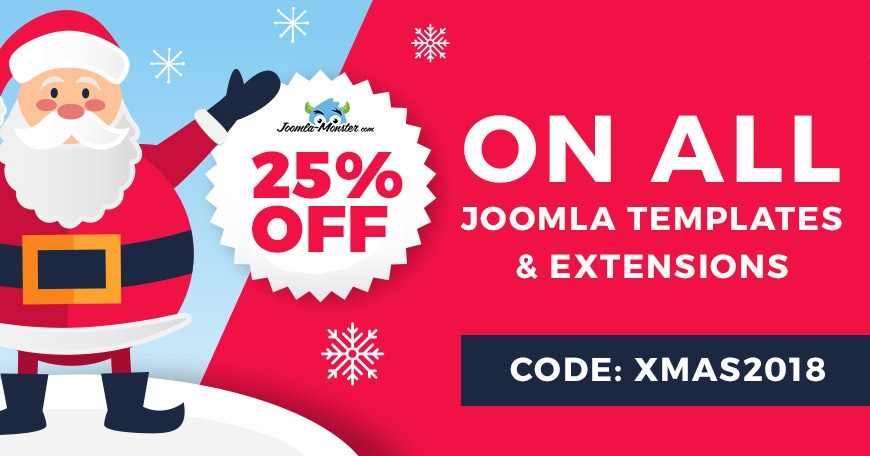 Joomla News: 2018 Christmas discount on Joomla templates and extensions.