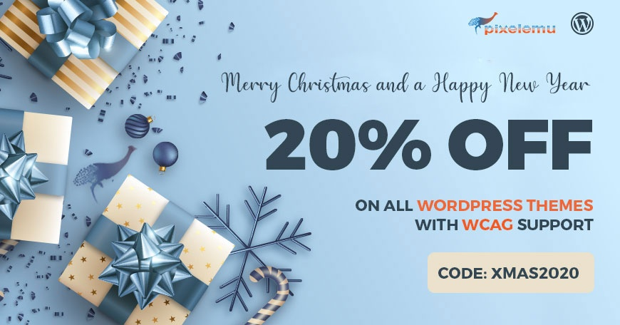 WordPress News: Christmas SALE - WCAG and ADA WordPress themes 20% OFF