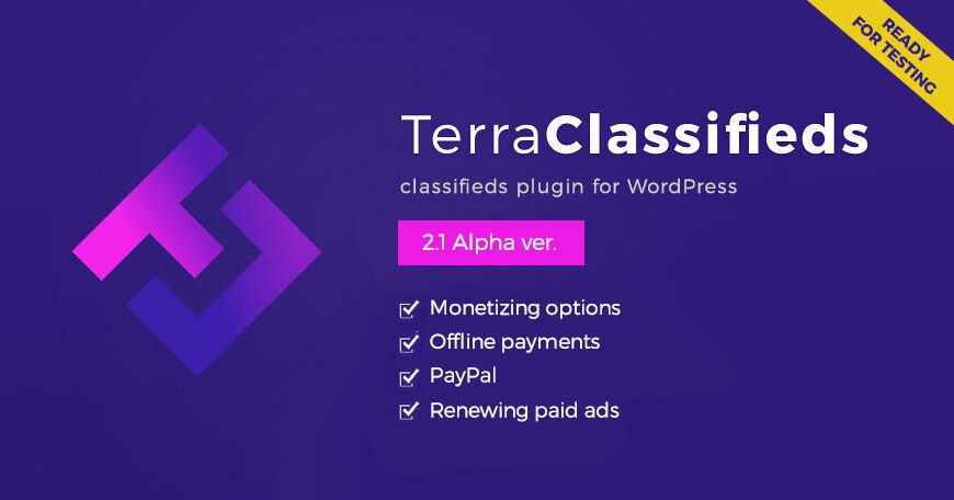Joomla News: TerraClassifieds ver. 2.1 Alpha with monetizing options