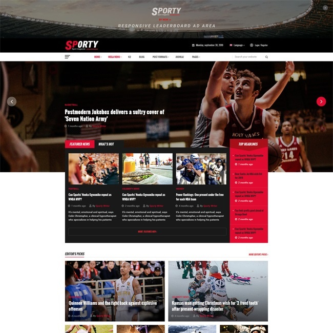 Joomla News: [PREVIEW] Sj Sporty - Flexible Sports News Joomla Template