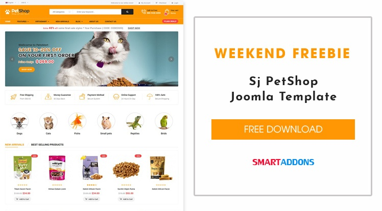 Joomla News: [Weekend Freebie] Free Download Sj PetShop Joomla Template