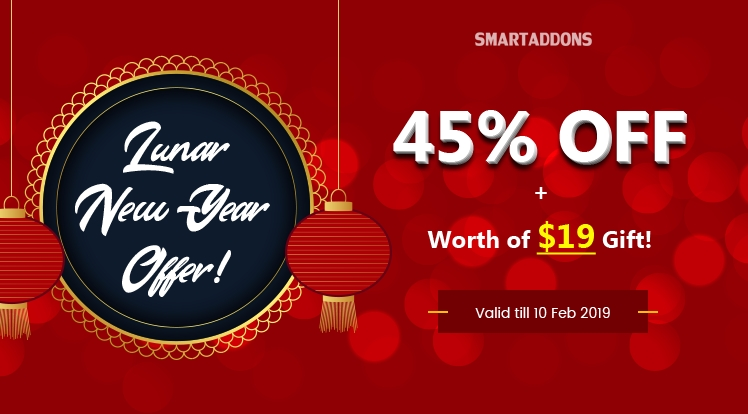 SmartAddons Joomla News: Happy New Year 2019: Up to 45% OFF Storewide & Extra Gift Worth of $19