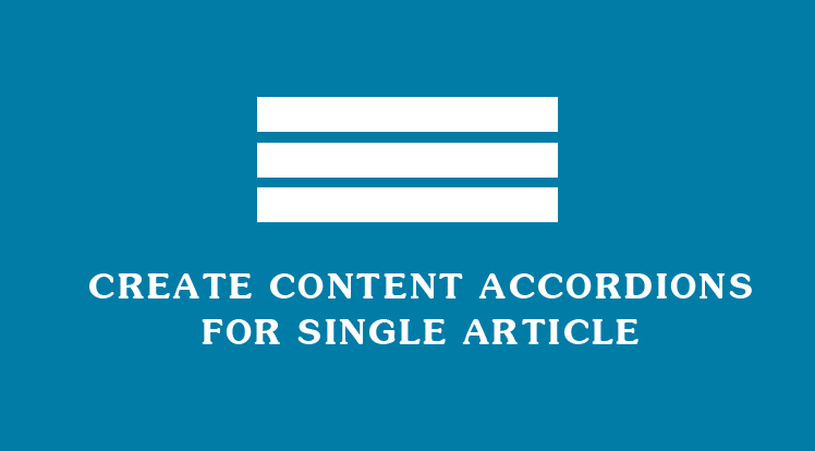 Joomla News: How to Create Content Accordion for Single Article
