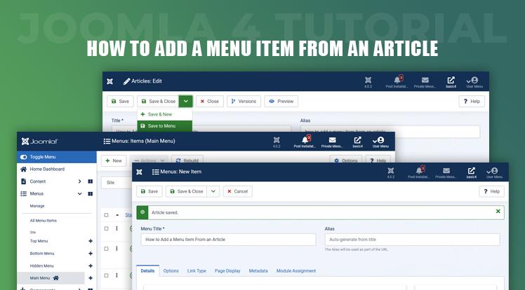 Joomla News: Joomla 4 Tutorial - How to Add a Menu Item From an Article