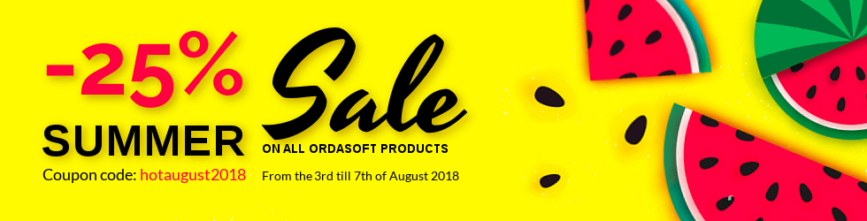 Joomla News: Hot August discount 2018 Save 25% on all OrdaSoft products!