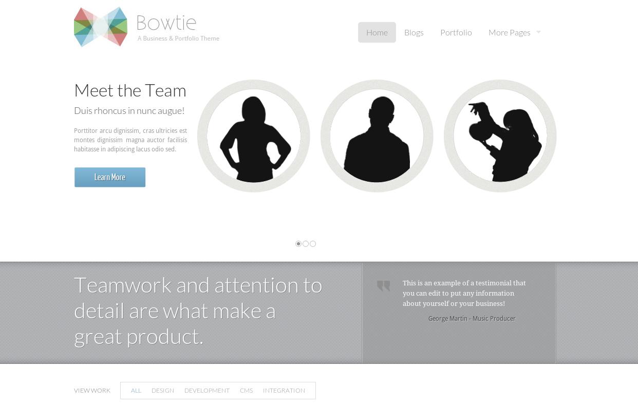Bowtie theme - versatile Drupal portfolio theme