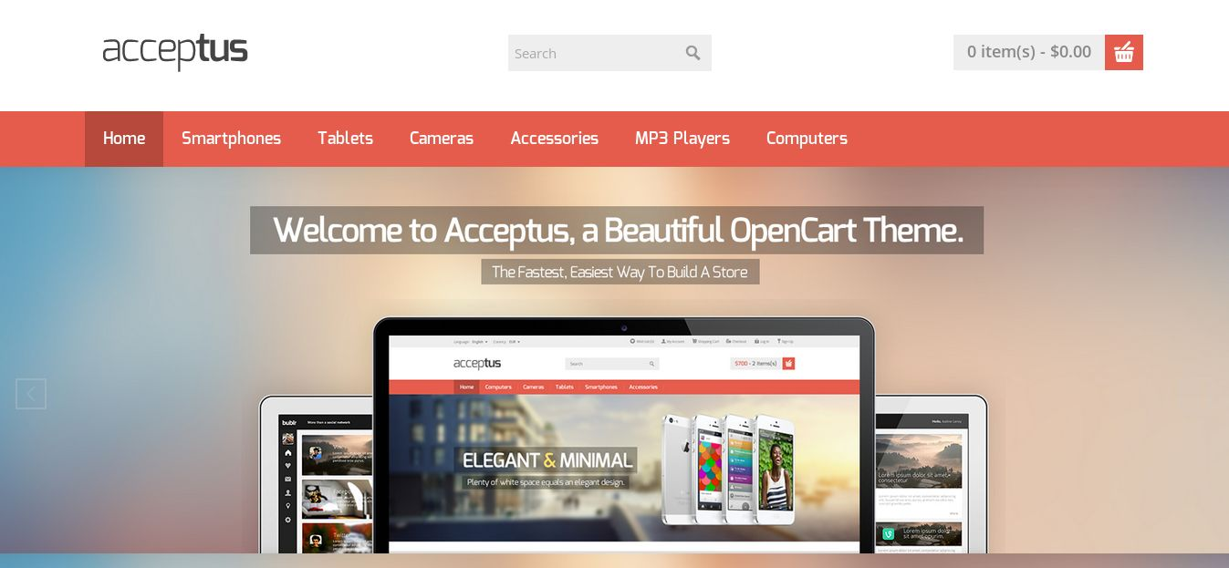 Acceptus - one of the best opencart free tempates