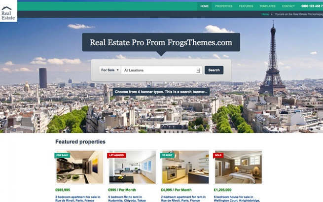 Wordpress Theme: Real Estate Pro