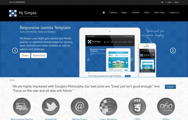 Joomla Template: Mj Simple - Responsive joomla 3.0 theme