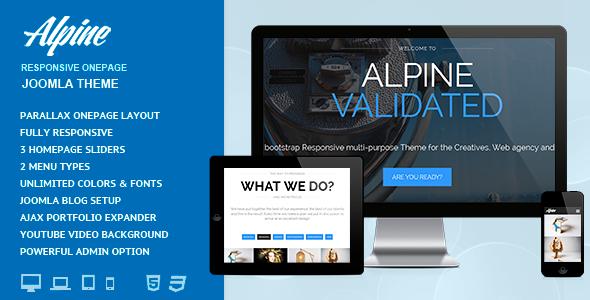 Joomla Template: Alpine - Responsive  one Page Joomla THeme