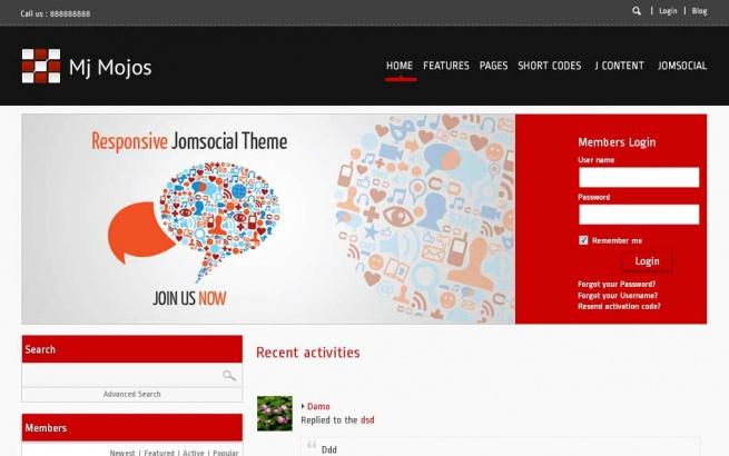 Joomla Template: Mj Mojos - Responsive Jomsocial Theme