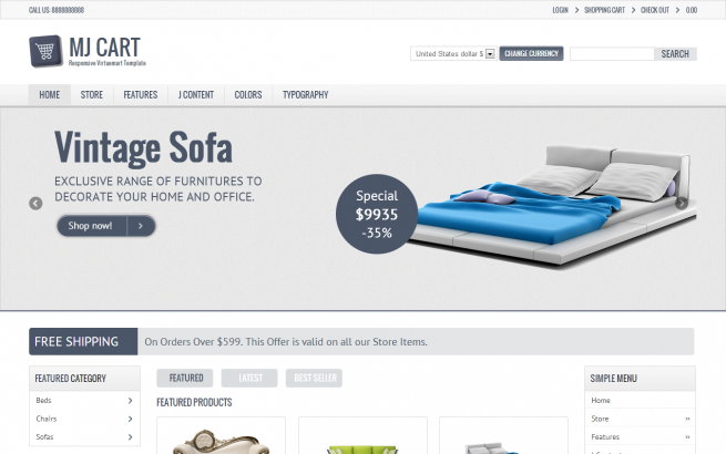 Joomla Template: Mj Cart - Responsive Virtuemart Template