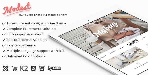 Joomla Template: Modest - Multipurpose Joomla VVirtuemart Theme