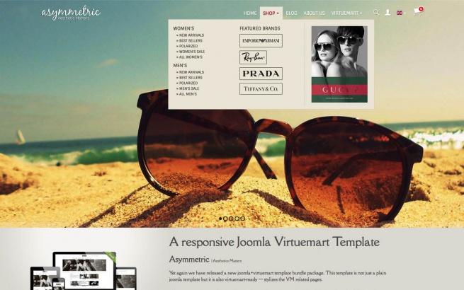 Joomla Template: Responsive Joomla Virtuemart Template - Asymmetric