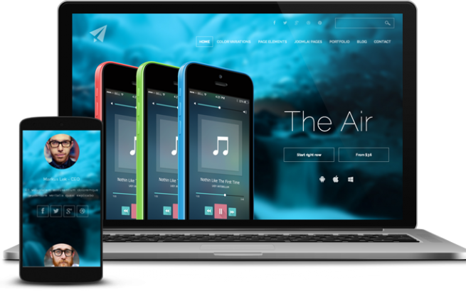 Joomla Template: The Air. Follow the property line.