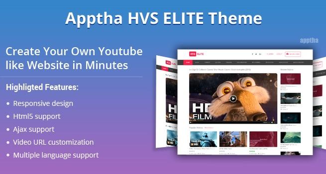 Joomla Template: Apptha HVS Elite - Joomla Youtube Video Theme
