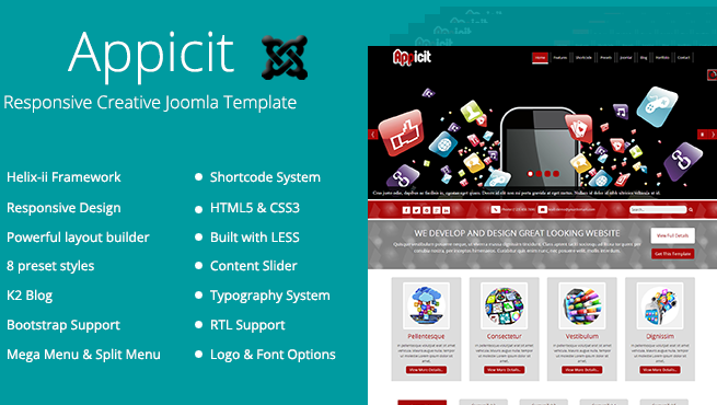 Joomla Template: TM Appicit - Responsive Joomla Template