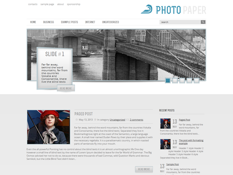 Wordpress Theme: PhotoPaper
