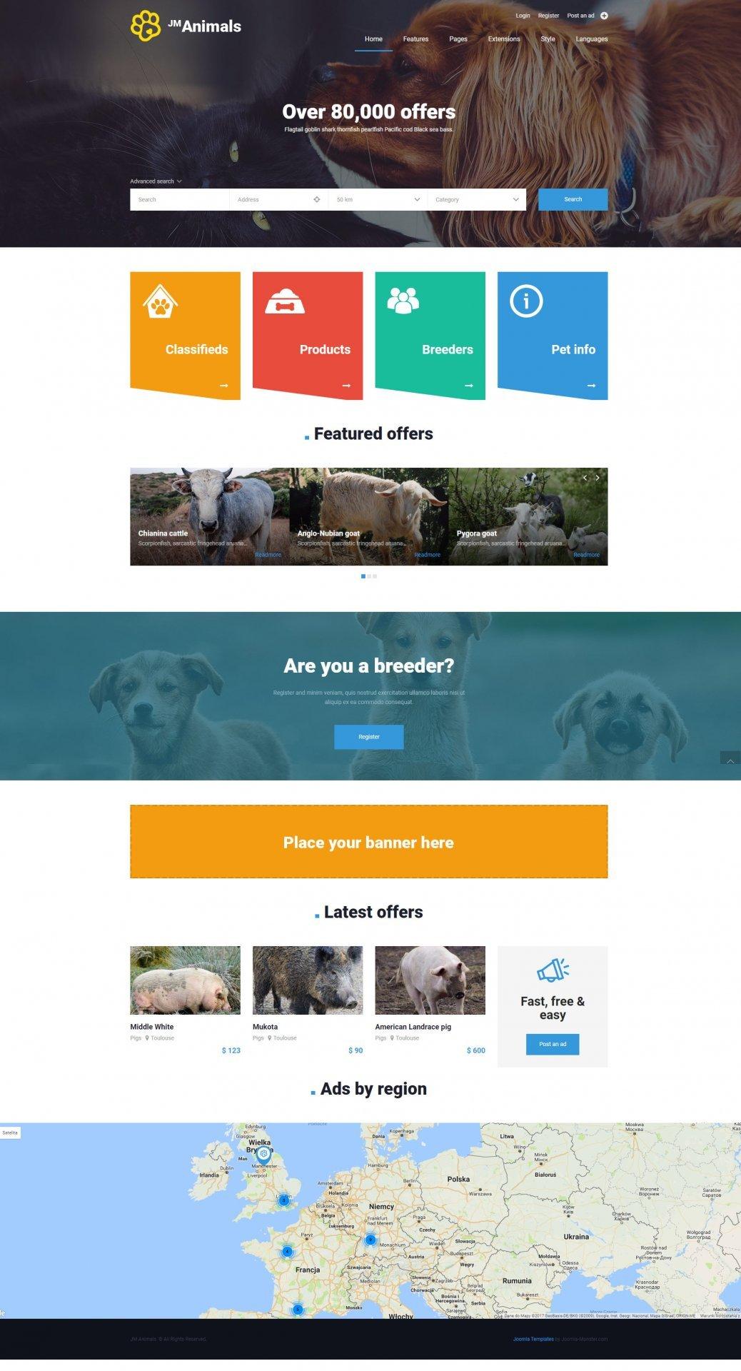 Joomla Template: JM Animals Classifieds