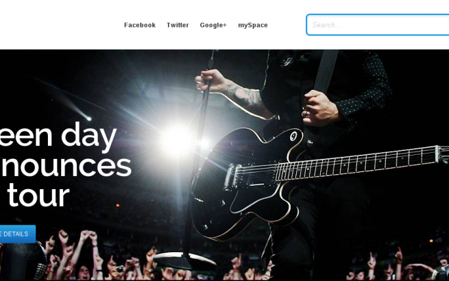 Joomla Template: RockWall Joomla! music template designed for musicians, bands, artist, bloggers and  the entertainment industry