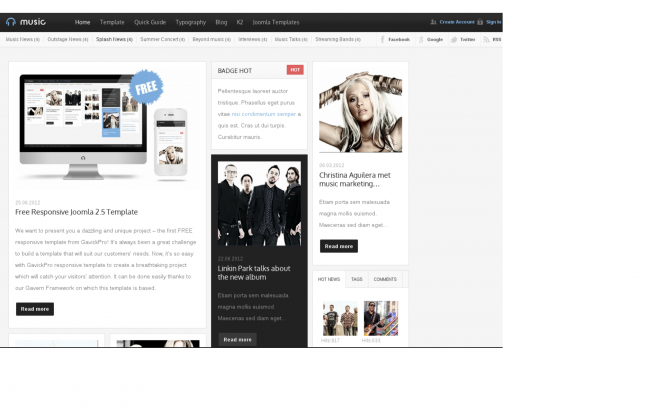 Joomla Template: Music Joomla Free Template