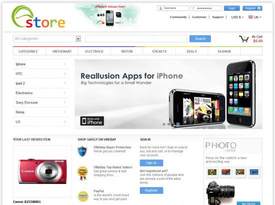 Joomla Template: Joomla Ebay Virtuemart Template