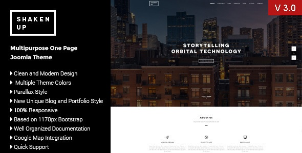 Joomla Template: Shaken-Up-:Multipurpose One Page Joomla Template