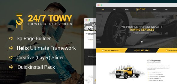 Joomla Template: Towy - Emergency Auto Towing and Roadside Assistance Service Joomla Theme with Page Builder