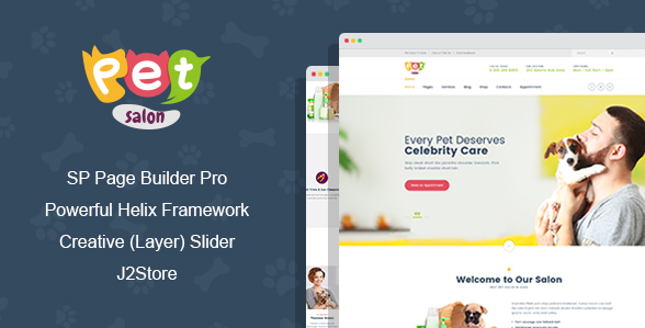 Joomla Template: Pet Salon - Pet Grooming Joomla Theme With Page Builder