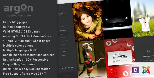 Joomla Template: Argon - Creative Joomla Portfolio & Blog