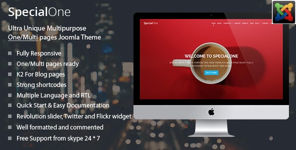 Joomla Template: SpecialOne - Multipurpose One/Multi pages joomla Theme