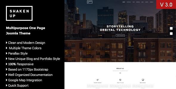 Joomla Template: Multipurpose One Page Joomla Template:Shaken-Up