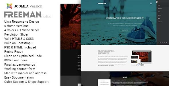 Joomla Template: Freeman - Multipurpose One Page Joomla Theme