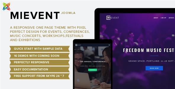 Joomla Template: Mievent - Multipurpose Joomla Theme