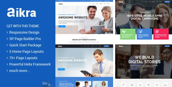 Joomla Template: Aikra - Responsive MultiPurpose Joomla Template With Page Builder