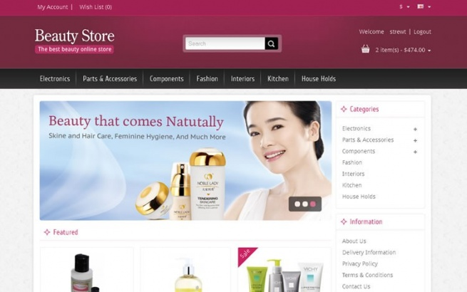 Opencart Template: Beauty Store