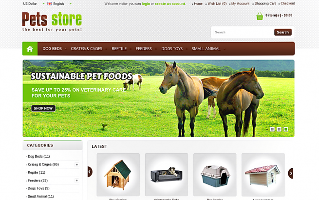 Opencart Template: Pets Store